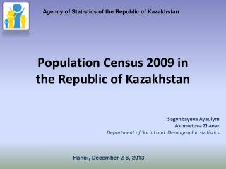 Population Census  2009  in the Republic of Kazakhstan