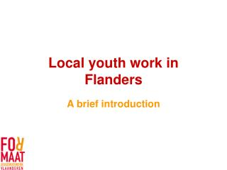 Local youth work in Flanders