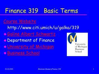 Finance 319   Basic Terms