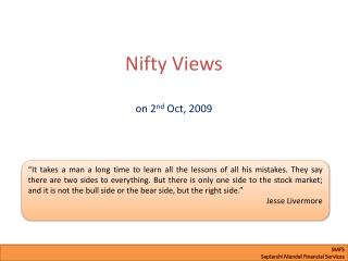 Nifty Views on 2 nd  Oct, 2009