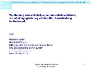 Außerbetriebliche, sozialpädagogisch begleitete Berufsausbildung im Netzwerk –  Ein Modell