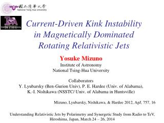 Current-Driven Kink Instability in Magnetically Dominated Rotating Relativistic Jets