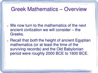 Greek Mathematics – Overview