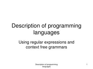 Description of programming languages