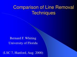Comparison of Line Removal Techniques