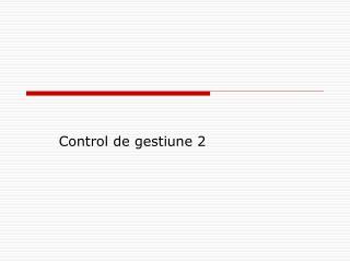 Control de gestiune 2