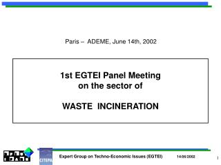 1st EGTEI Panel Meeting  on the sector of  WASTE  INCINERATION