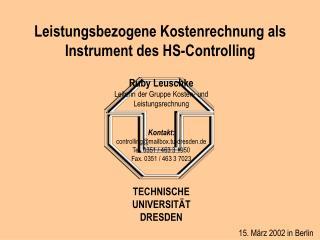 Leistungsbezogene Kostenrechnung als Instrument des HS-Controlling