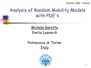Analysis of Random Mobility Models with PDE's