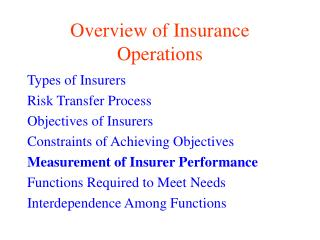 Overview of Insurance Operations