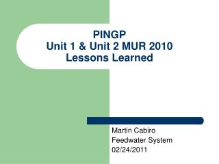 PINGP Unit 1 & Unit 2 MUR 2010  Lessons Learned