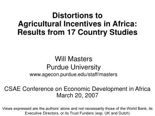 Distortions to  Agricultural Incentives in Africa:  Results from 17 Country Studies