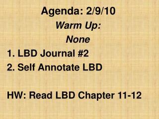 Agenda: 2/9/10