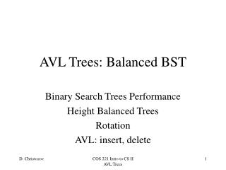 AVL Trees: Balanced BST