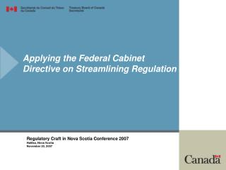 Applying the Federal Cabinet Directive on Streamlining Regulation