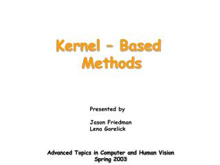 Kernel � Based  Methods