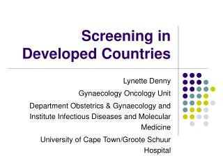 Screening in Developed Countries