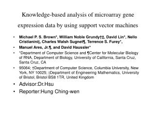 Knowledge-based analysis of microarray gene expression data by using support vector machines