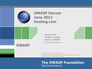 OWASP Denver June 2012 Hosting