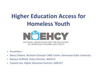 Higher Education Access for Homeless Youth