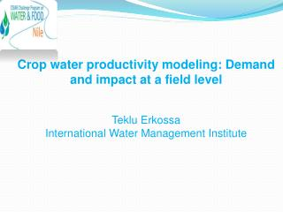 Crop  water productivity modeling: Demand and impact at a field level