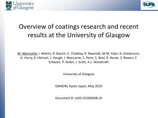 Overview of coatings research and recent results at the University of Glasgow