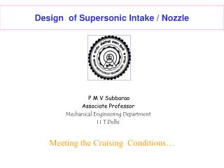 Design  of Supersonic Intake / Nozzle