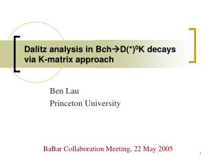 Dalitz analysis in Bch  D(*) 0 K decays via K-matrix approach