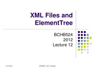 XML Files and ElementTree