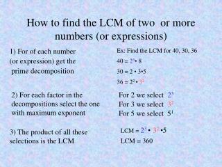How to find the LCM of two  or more  numbers (or expressions)