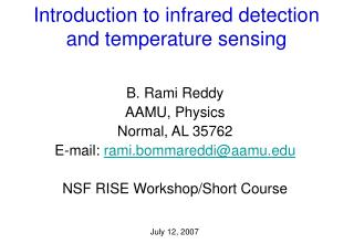 Introduction to infrared detection and temperature sensing