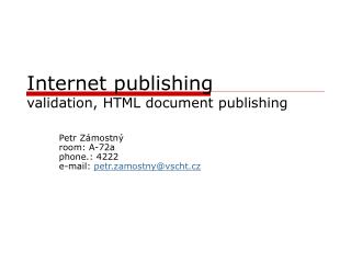 Internet publishing validation, HTML document publishing