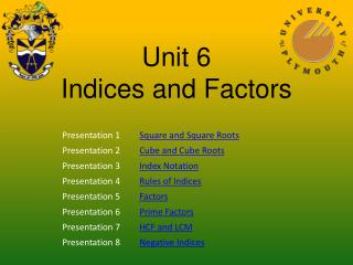 Unit 6 Indices and Factors