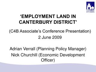 'EMPLOYMENT LAND IN CANTERBURY DISTRICT'