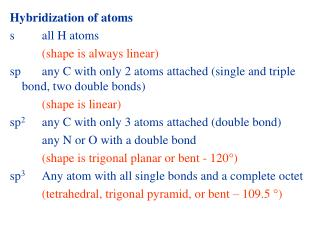 Hybridization of atoms s		all H atoms (shape is always linear)