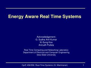 Energy Aware Real Time Systems