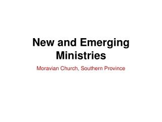 Moravian Church ..Southern Province