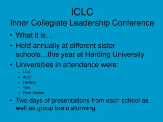ICLC Inner Collegiate Leadership Conference