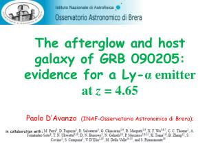 The afterglow and host galaxy of GRB 090205: evidence for a Ly- α  emitter at  z  = 4.65