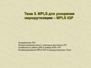 Тема  3 .  MPLS  для ускорения маршрутизации –  MPLS IGP