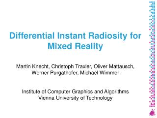 Differential Instant Radiosity for Mixed Reality