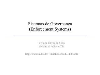 Sistemas de Governança (Enforcement Systems)