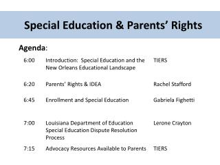 Special Education & Parents� Rights