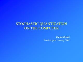 STOCHASTIC QUANTIZATION  ON THE COMPUTER