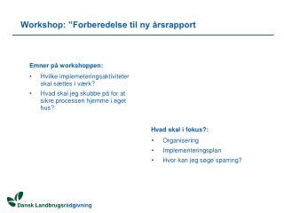 """Workshop: """"Forberedelse til ny årsrapport"""