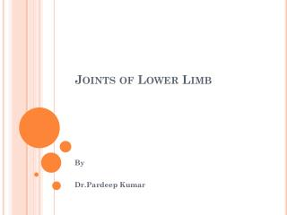 Joints of Lower Limb