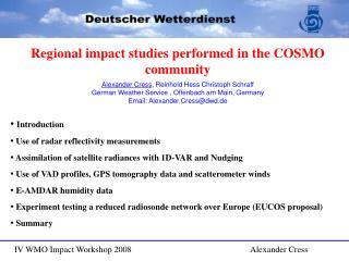 IV WMO Impact Workshop 2008