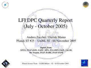 LFI DPC Quarterly Report  (July - October 2005)