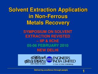 Solvent Extraction Application in Non-Ferrous  Metals Recovery