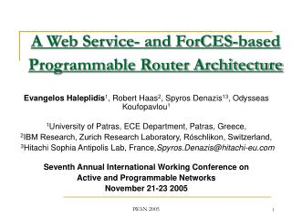 A Web Service- and ForCES-based Programmable Router Architecture